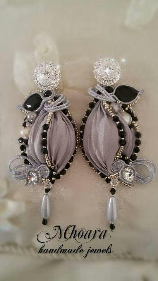 Shibori silk earrings 'Silver Plated' design by Mhoara Jewels