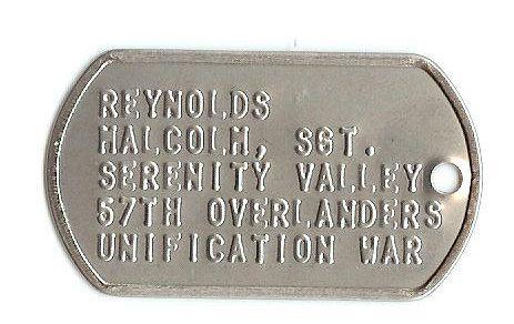 Firefly Malcolm Reynolds Serenity Valley Dog Tag by PopCandy101, $15.00