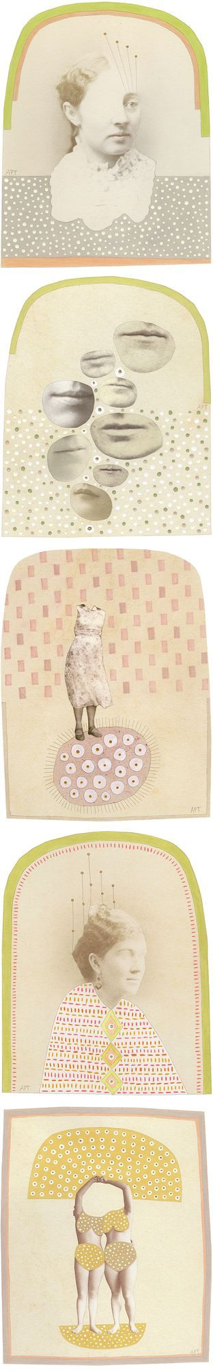 Whimsical collages that make me want to play in the studio… in a polka-dot bikini? No no, it's too cold for that, but I still want to cut 'n paste all day long! This is the mixed media work of Vermont