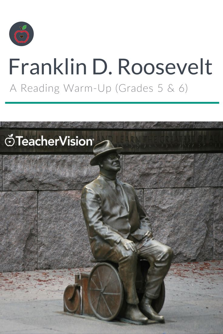 In this printable warm-up, students read a short biography on Franklin D. Roosevelt and answer reading comprehension questions. (Grades 5 & 6 - useful for Presidents' Day lesson planning.)