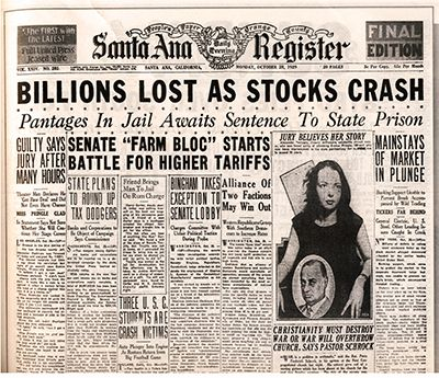 Wall Street Crash of 1929 and its aftermath The strength of America's economy in the 1920's came to a sudden end in October 1929 – even if the signs of problems had existed before the Wall Street Crash. Suddenly the 'glamour' of the Jazz Age andgangsters disappeared and America was faced with a major crisis …