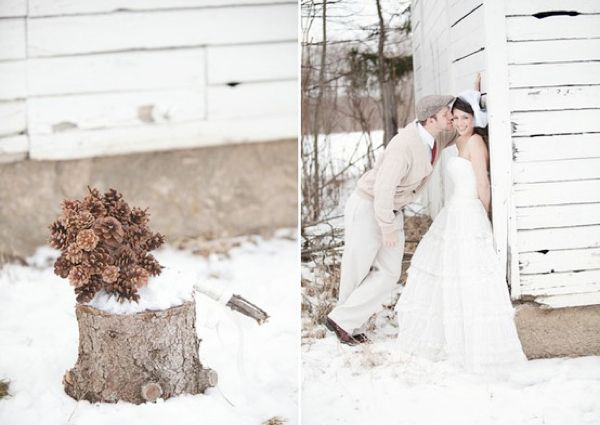 Winter Wedding Bouquets With Pinecones — Wedding Ideas, Wedding Trends, and Wedding Galleries