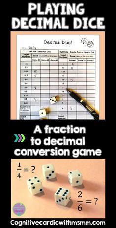 Decimal Dice is a challenging math game to help your students practice converting fractions to decimals. Upper elementary and middle school students love this game - it's fun and it makes them think!