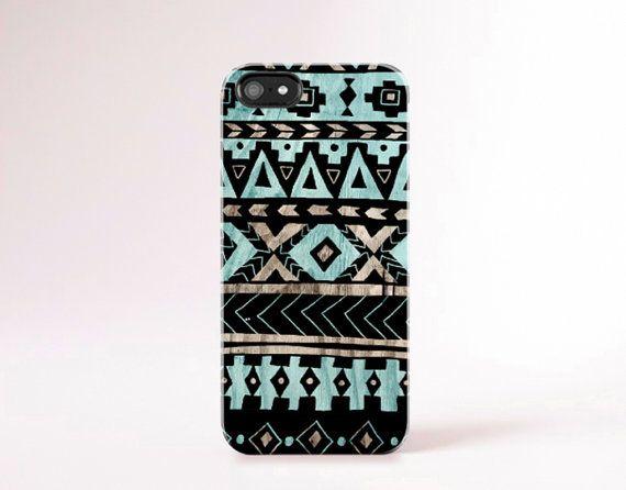 Aztec iPhone Case Wood Print Mint iPhone 5 Case door casesbycsera