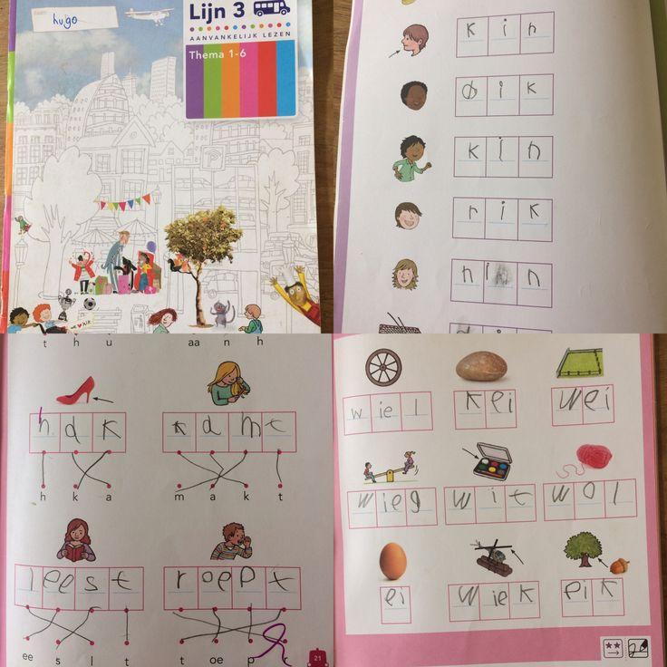 Hugo, 1e klas. Spellingwerkboek van leesmethode 'lijn 3'. Thema 1-6