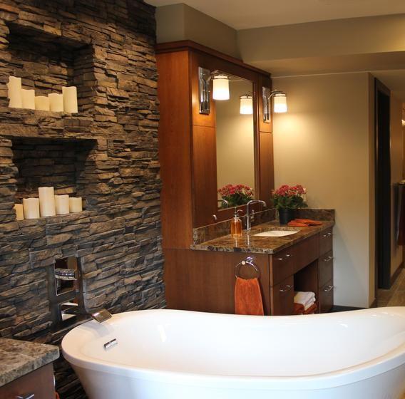 Slate Bathroom Modern Bathrooms And Rustic: Rustic Master Bath With Dark Stacked Stone Candle Wall, White Freestanding Bathtub, Wood