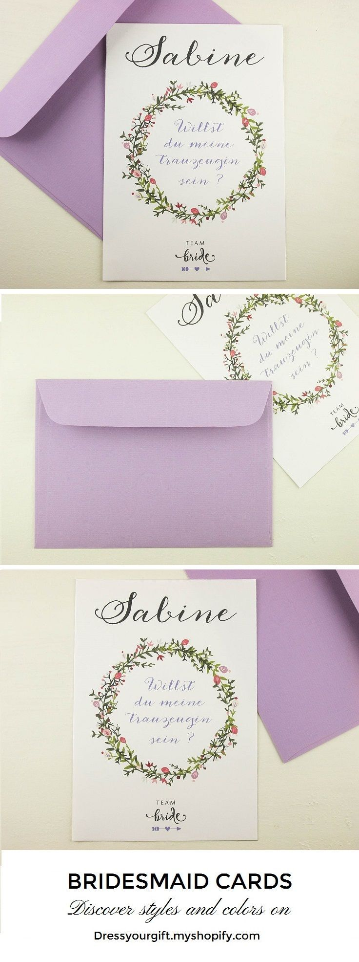 Violet personalized bridesmaid bridal shower invitation, maid of honor card and envelope flower themed #maidofhonorproposal #demoiselledhonneur #damadehonor #trauzeugin #brautjungfern