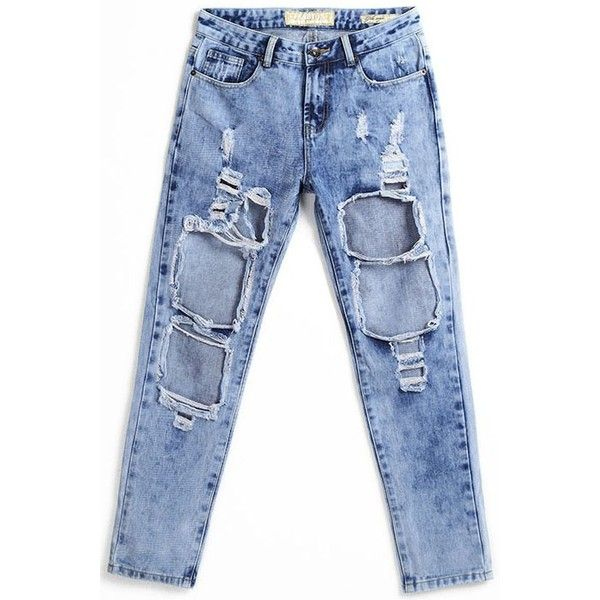 LUCLUC Midwash Blue Cut-Outs Straight Jeans (€32) ❤ liked on Polyvore featuring jeans, bottoms, pants, blue jeans, cut-out jeans, straight leg jeans and straight-leg jeans