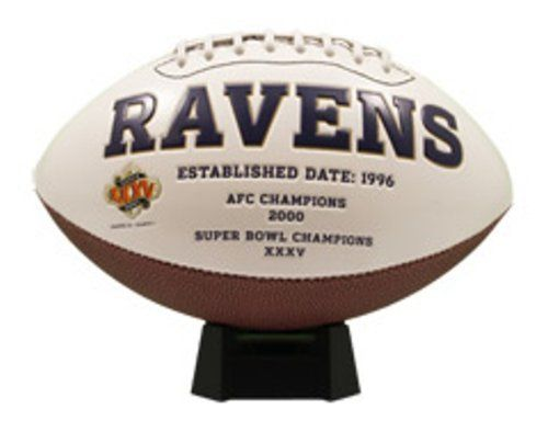 NFL Baltimore Ravens Signature Series Team Full Size Footballs by The License Products Company. Save 9 Off!. $22.70. The classic NFL Signature Series team football from K2 features a full color embroidered team logo prominently displayed on the front and team championship history listed on the back. This officially licensed football includes an autograph pen and is designed with 3 smooth white panels for ample autograph signing space.