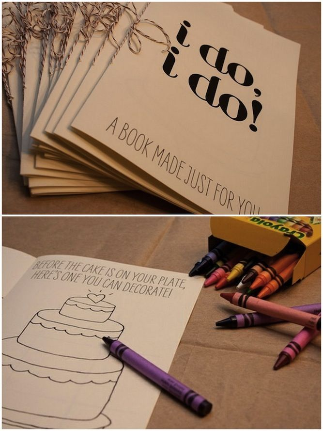 """Have some busy little people at your wedding? An """"I Do"""" colouring book will keep their hands out of the centrepieces!  From bridalmusings.com"""