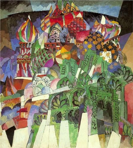 Saint Basil's Cathedral 1913. Aristarkh Lentulov (1882-1043)  was a major Russian avant-garde artist of Cubist orientation who also worked on set designs for the theatre. He became acquainted with French painters such as Gleizes, Metzinger, Léger & Delaunay and after absorbing fauvists' and cubists' principles, developed his own unique coulorful style of painting.He became a major influence on what to become the Russian futurism and in particular Cubo-Futurism.