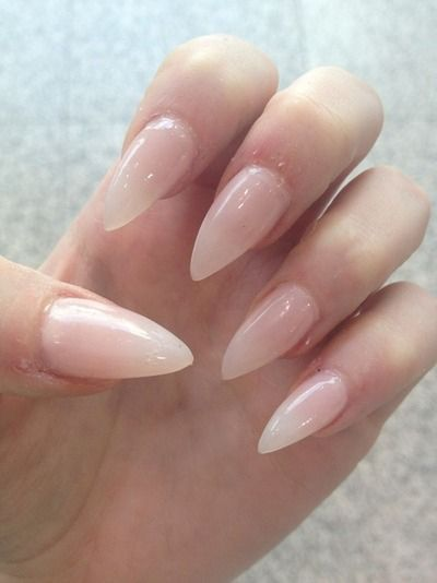 magickandcrack:  nude pointed nails via PinterestI think pointed nails are really sexy and witchy but a lot of people are intimidated by them and they break easily ;c