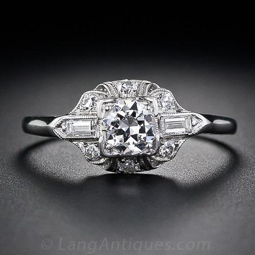 .33 Carat Platimum and Diamond Art Deco Engagement Ring - Granat Bros.