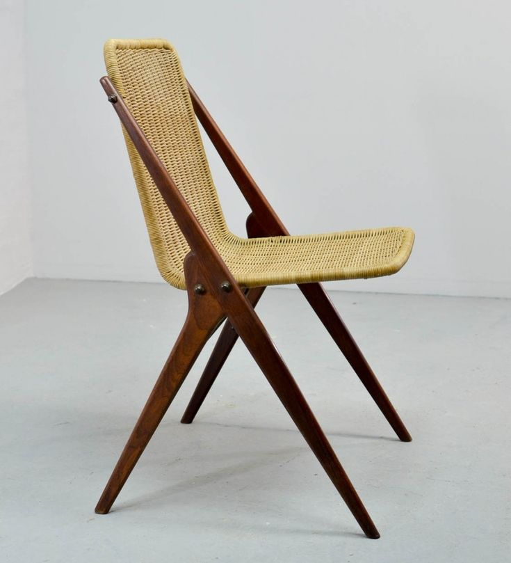Dutch Design Reed & Teak Wood Desk Chair, 1950s