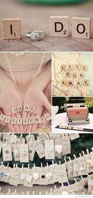 Scrabble letters als bruiloft thema