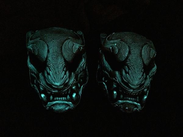 TRANSLUCENT RED, GLOW IN THE DARK PANTHER MASK