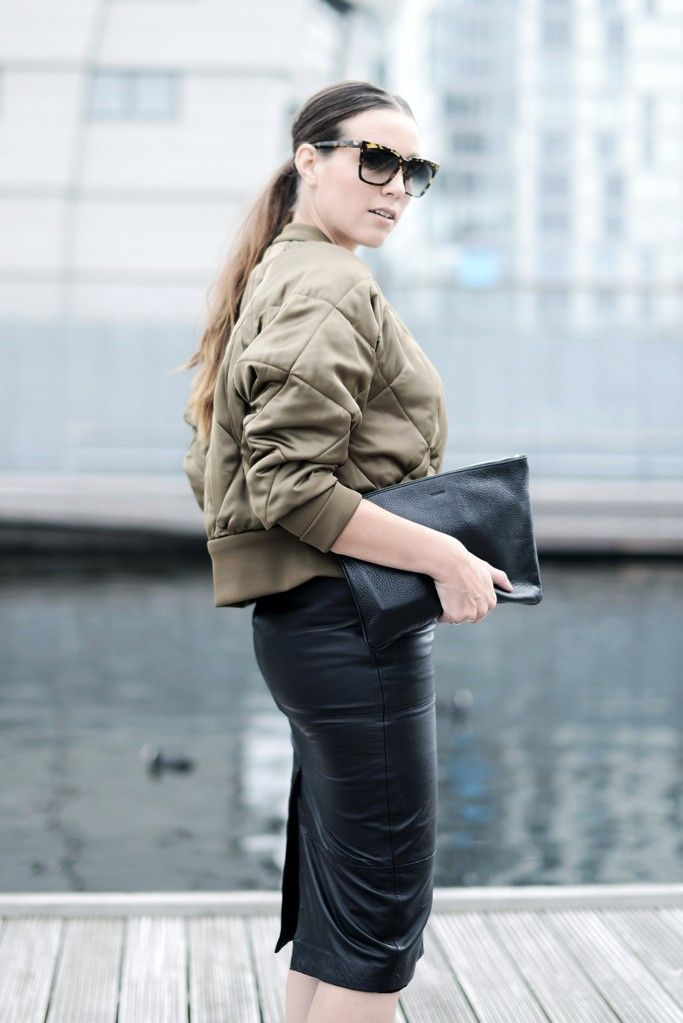 "justthedesign: ""Cindy Van Der Heyden is wearing a bomber jacket from Zara, leather pencil skirt from Asos, clutch from Jill Sander and sunglasses from Dita """
