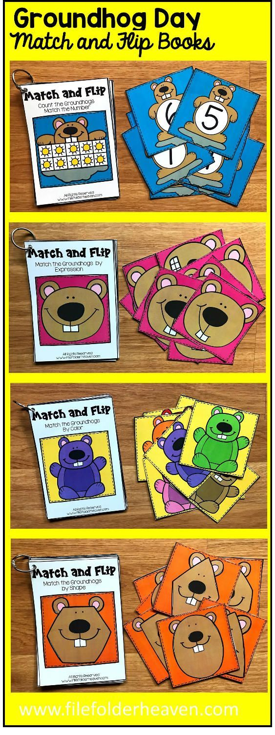 These Groundhog Day Match and Flip Books focus on basic matching skills. In these activities, students work on matching picture to picture (or by emotion/expression), matching by color, and matching by shape, and matching by counting.  There are four Match and Flip Books included in this download.  Match the Groundhog by Shape (Matching By Shape) Match the Groundhog by Emotion/Expression (Matching By Picture/Emotion) Match the Groundhog by Color (Matching By Color) Count the Suns,