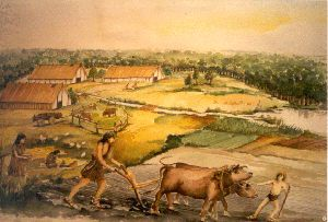 Je ziet hier onder aan het plaatje een voorbeeld van veeteelt. De dieren worden gebruikt om de akkerbouw goed te laten verlopen. Op de achtergrond zie je de boerderijen van de boeren.
