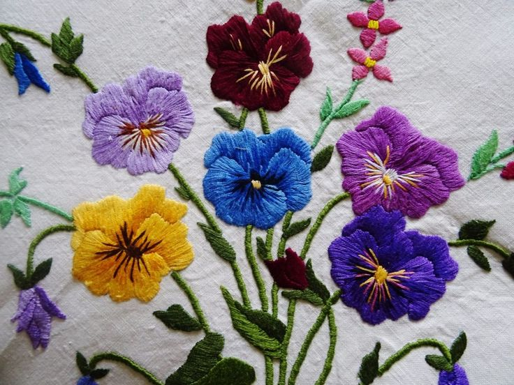 "Vintage Hand Embroidered 58"" x 60"" ART DECO Style PANSIES Linen Tablecloth 