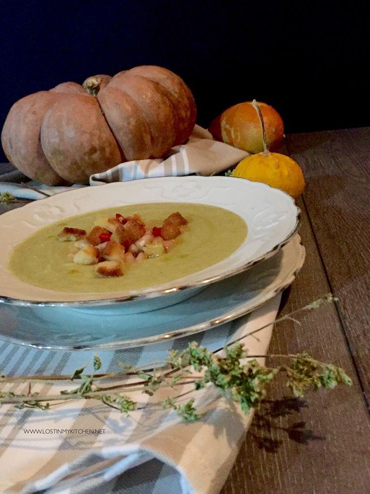 VELLUTATA di Broccoli e Patate con Cannellini all'Aglio e Pane Piccante