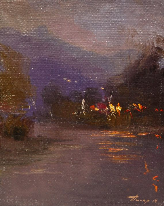 Dark canvas art, Small landscape painting, Oil canvas painting of beautiful evening lights on water- Mountain painting