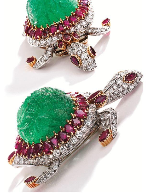 Lot 360-1 - Platinum, 18 Karat Gold, Carved Emerald, Ruby and Diamond Brooch, Cartier, Paris