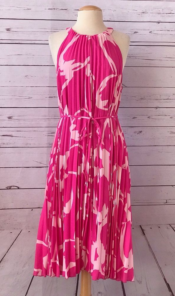 af6fb7356f4 NWT  159 VINCE CAMUTO Pink Pleated Sleeveless Dress Size M Halter Style NEW   VinceCamuto  ShiftDress  AnyOccasion