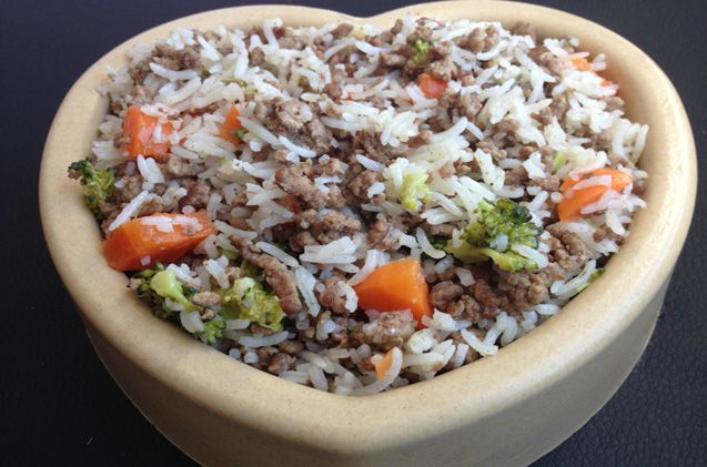 When I want to eat healthy, I whip up a stir fry. This recipe is a bit different than the one I make for myself. For one, there are no spices in this Beef and Rice Stir Fry Dog Food Recipe.