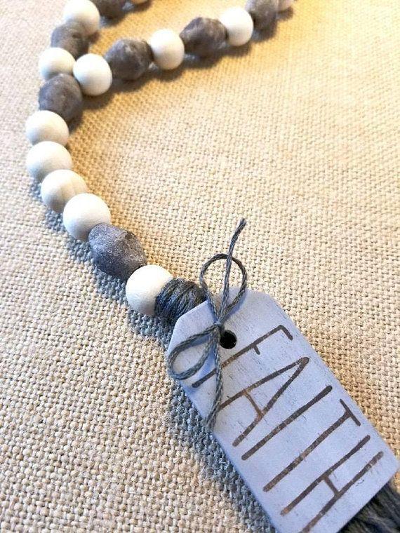 Grey Blessing Beads Meditation Beads Graduation Gift Rae Dunn Gift for Woman Farmhouse Chic Boho Hippie Door Decor Brown Prayer Beads