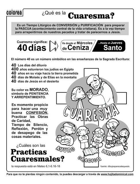 La Catequesis (El blog de Sandra): Explicación Sencilla para niños de la Cuaresma con un Cómic para Colorear