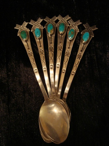 """Set of 6 Antique Navajo Pawn Sterling Demitasse Spoons with Turquoise Cabochons   These are classic examples of """"curios"""" made for the tourist trade. Very collectable today."""