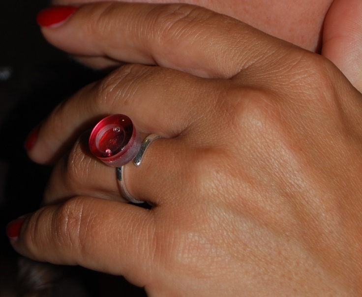 glass ring with bubble and diamond