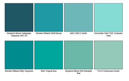Turquoise Paint chips.  Turquoise would be a great accent color.  Turquoise is the stone used by South Western Native Americans for jewelry so it is a perfect color to use.