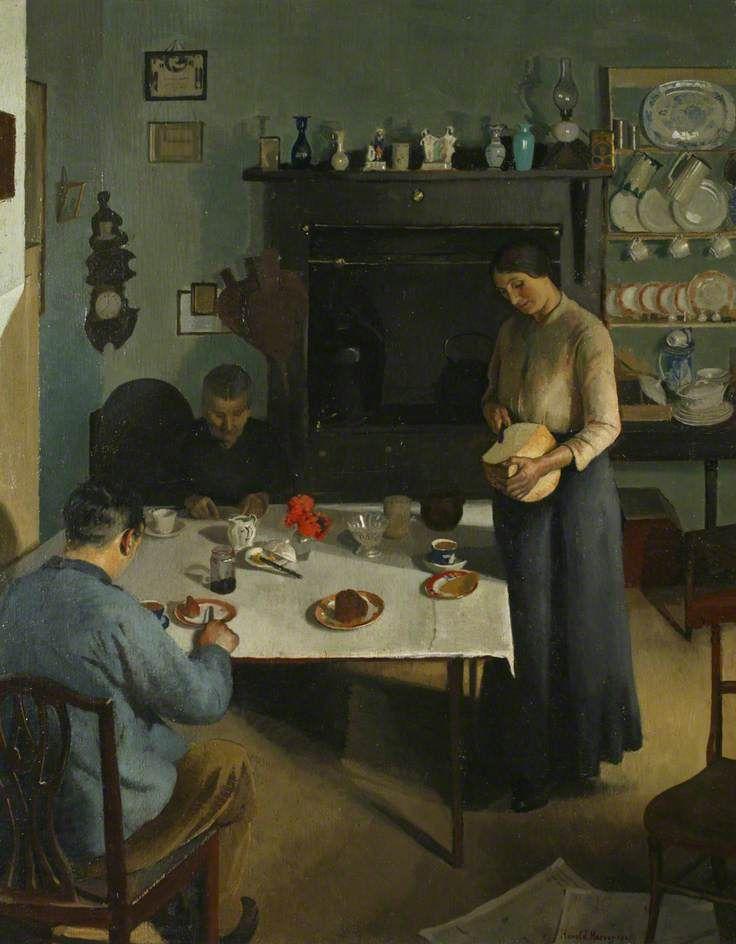 The Tea Table, 1920 - by Harold Harvey (British, 1874-1921) Newlyn School