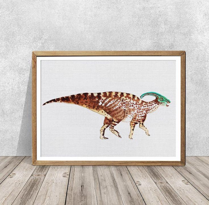 Dinosaur art SET Of3 Parasaurolophus Dinosaur print