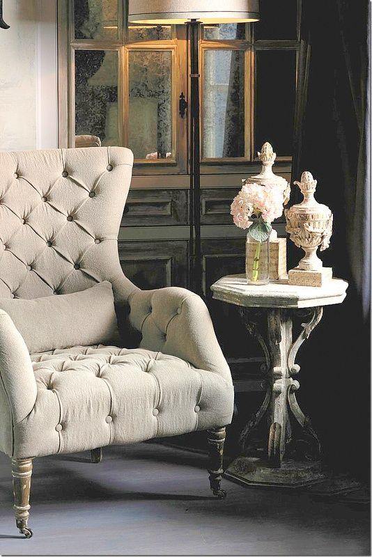 beautiful tufted chair to read from