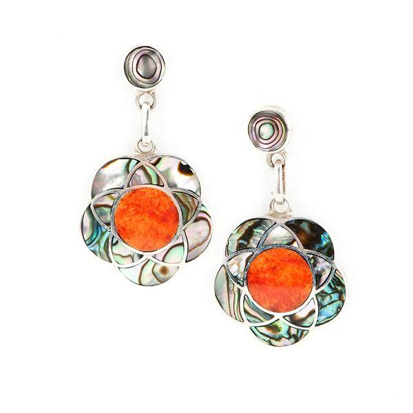 Pendientes Flor Abalón. Pendientes de plata y spondylus naranja y abalón. www.ccusi.com
