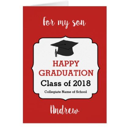 Red Happy Graduation Son Card Gifts For Him Pinterest