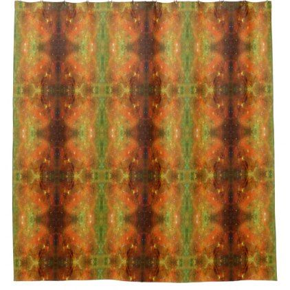 #Galaxy Orange and Green Shower Curtain - #Bathroom #Accessories #home #living