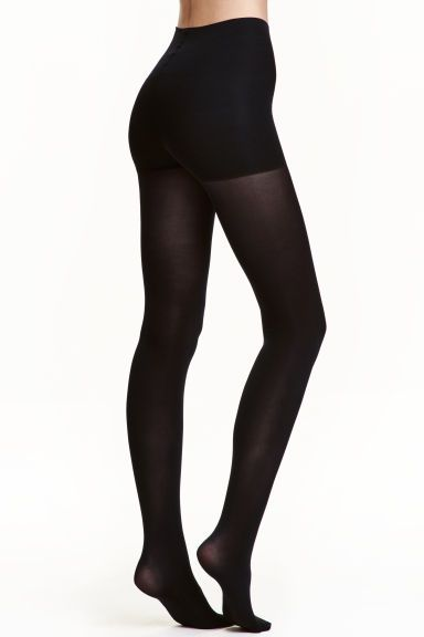 100 denier control-top tights: Matt opaque tights with a control top to hold in the tummy and seat. 100 denier.