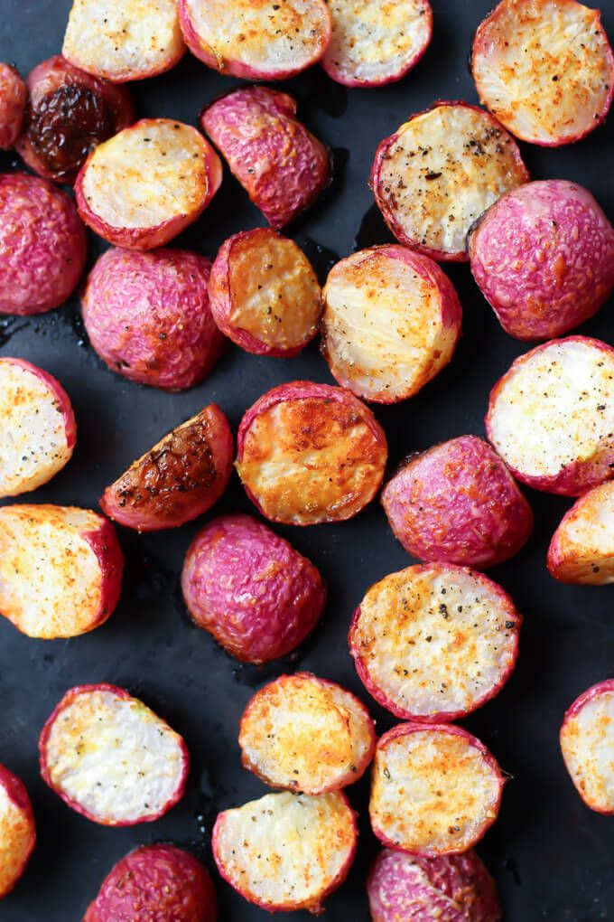 Crispy Roasted Radishes are a perfect side dish for any occasion. Slightly sweet and peppery radishes are perfect for roasting!