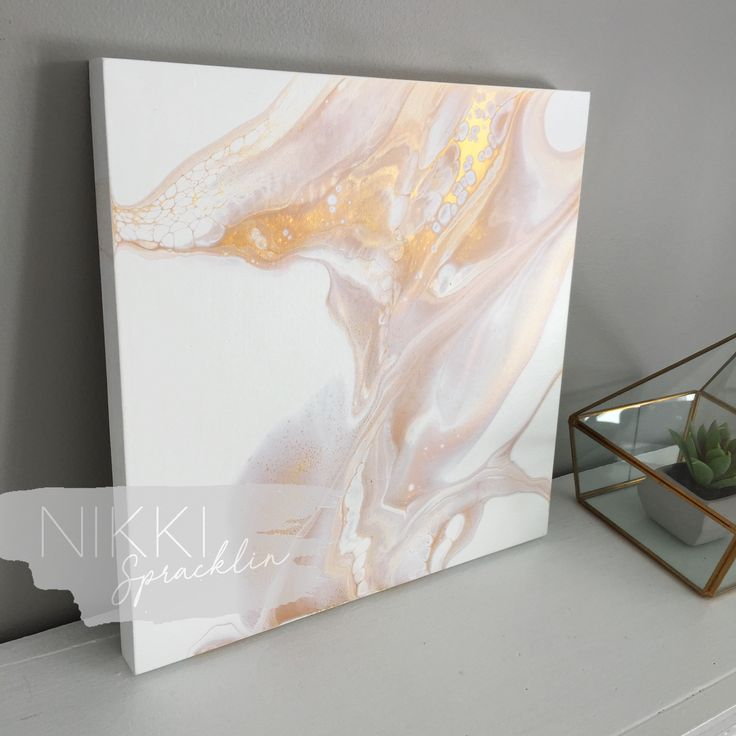 """10""""x10"""" original art acrylic pour painting on wooden panel, fluid art, dirty pour, acrylic painting, white, gold, contemporary art - LUXE by NikkiSpracklin on Etsy https://www.etsy.com/ca/listing/585966758/10x10-original-art-acrylic-pour-painting"""
