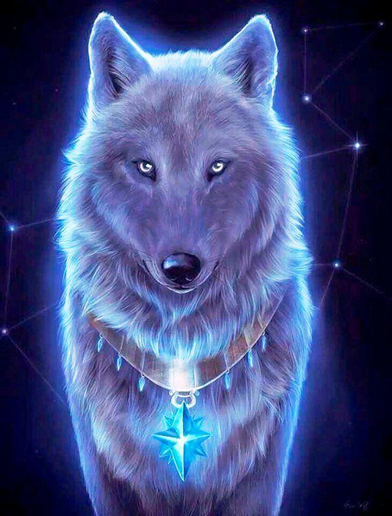 Wolf Fractal Neon Cross Stitch Pattern Counted Cross Stitch Etsy Wolf Spirit Animal Wolf Wallpaper Spirit Animal
