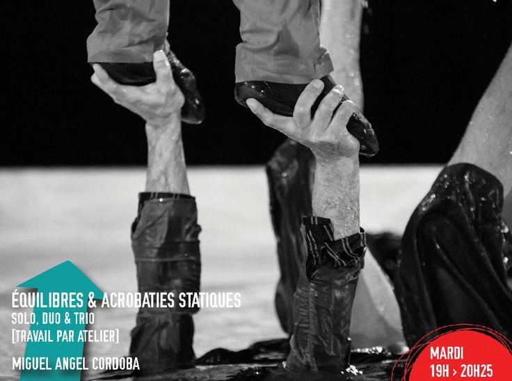 Jeu(X) de Piste - Cours du Soir -ÉQUILIBRES & ACROBATIES STATIQUES avec Miguel Angel Cordoba : Vivre à l'envers, sur ses mains ou encore sur les mains, la tête, les pieds d'un ou de plusieurs partenaires... Ce Cours du Soir vous invite à découvrir différentes facettes de l'acrobatie statique en bien charmante compagnie.
