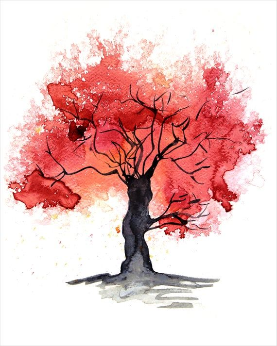Tree Painting Print Of Original Artwork In Red Abstract Autumn