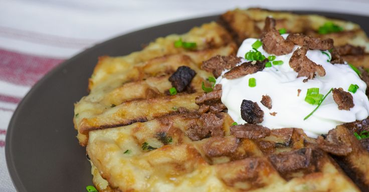 Mashed potatoes waffle--what a great way to use left-over mashed potatoes!  Move over, potato pancakes!