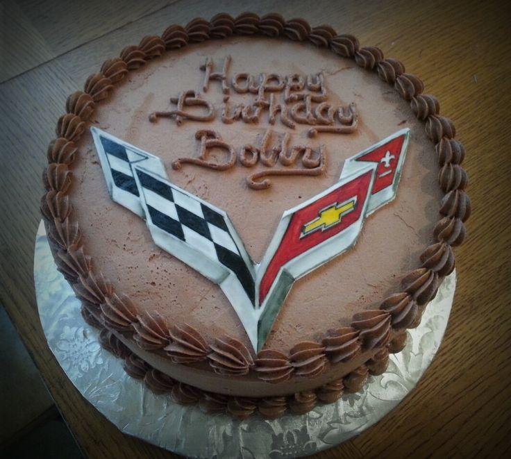 Corvette logo men's birthday cake. Chocolate buttercream