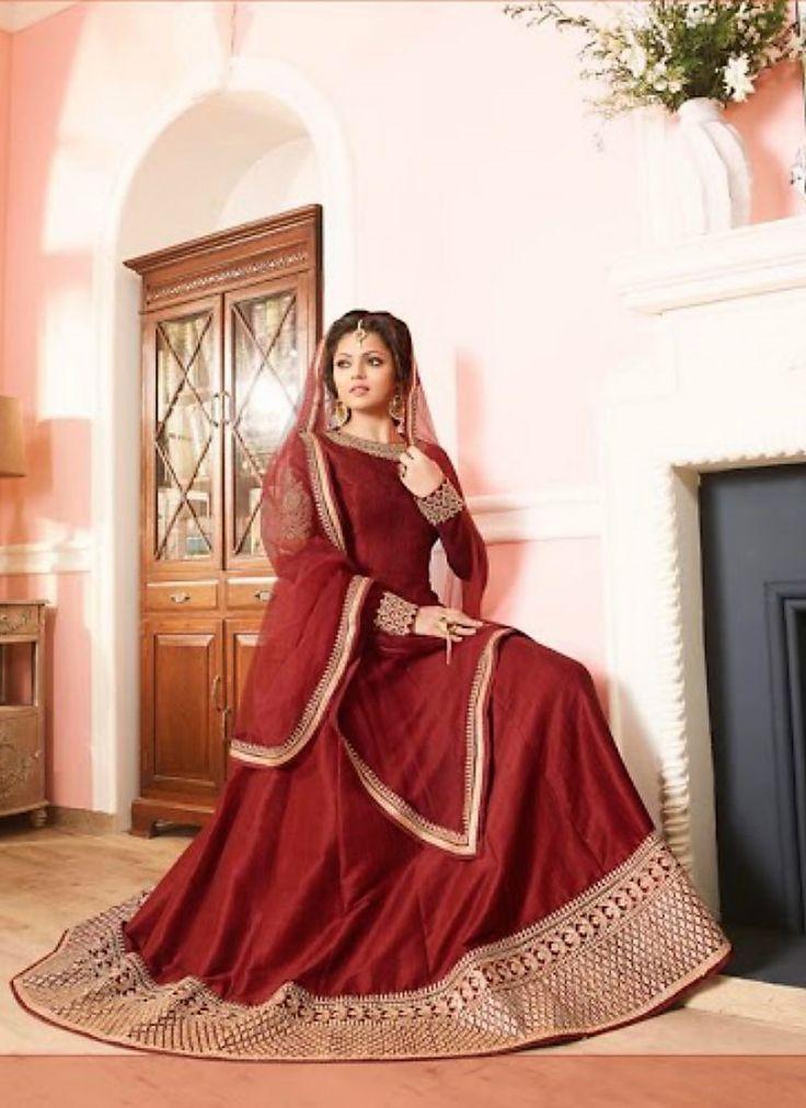 Drashti Dhami Copper Colour Mulbary Silk Anarkali Suit