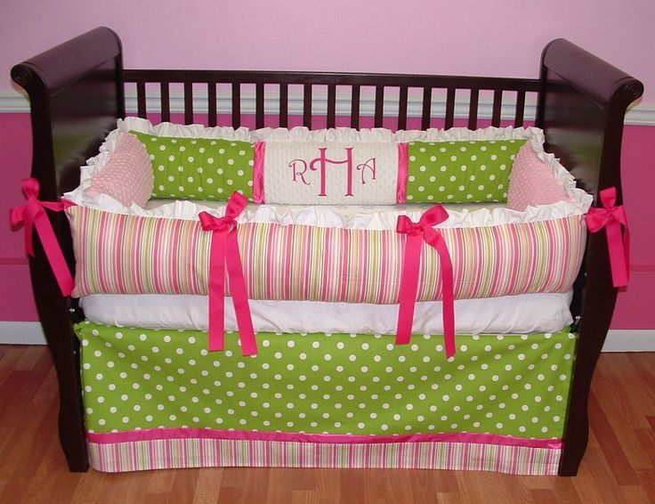 Sweet And Feminine Baby Girls Bedding Sets : Adorable Colorful Stripes And  Polkadot Baby Girls Nursery Room Decoration In Light Pink And Hot.